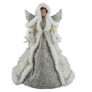 16 inch Silver Snowfall Angel Tree Topper