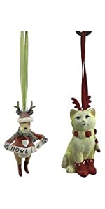 green and red cat reindeer ornament