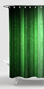 Green Striped Shower Curtain