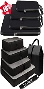 BAGAIL 6 Set Packing Cubes + 4 Set Compression Packing