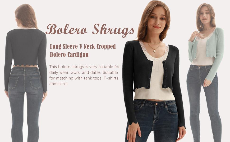 KANCY KOLE Womenamp;#39;s Cropped Bolero Cardigan V Neck Long Sleeve Shrug Sweater Tops