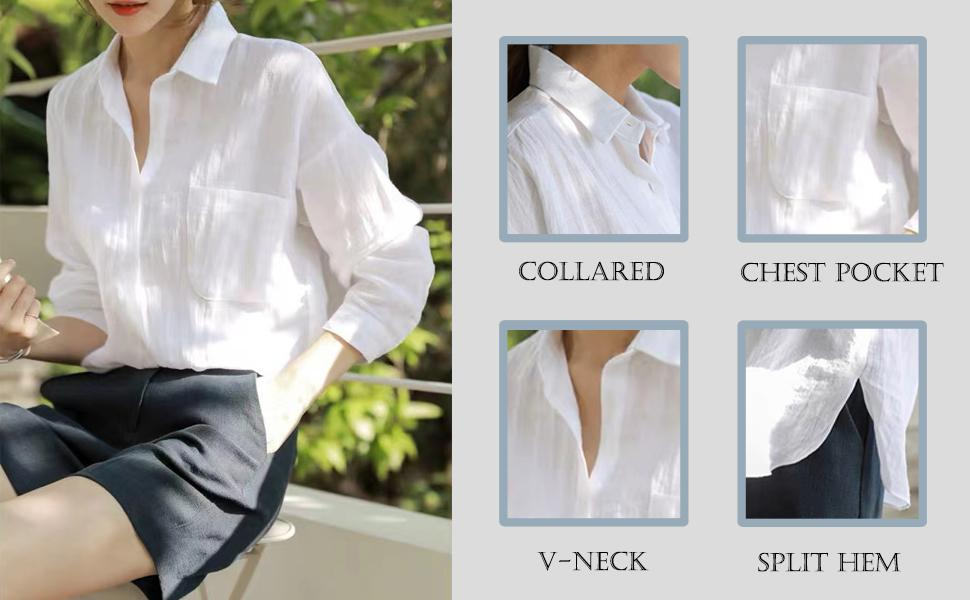 Button down blouse for women casual work shirt
