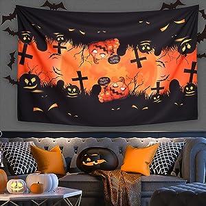 moon and pumpkin tablecloth