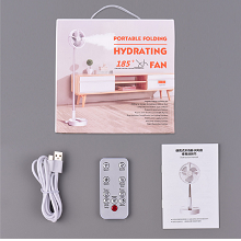 The package includes a USB charging cable, instruction manual, and remote control.