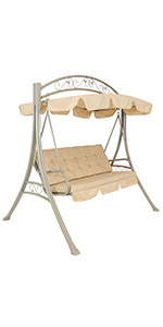 Sunnydaze 3-Person Aluminum Patio Swing with Canopy and Beige Cushion