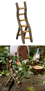 fairy garden accessories rustic ladder outdoor indoor figurine