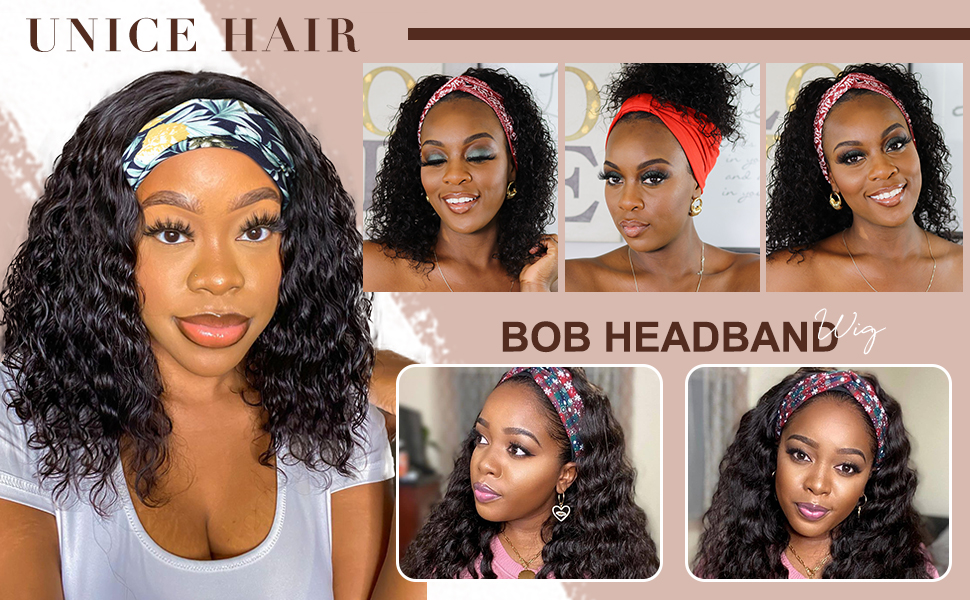 UNice Headband Bob Wig Water Wave 100% Brazilian Virgin Human Hair Short Bob Wigs 150% Density