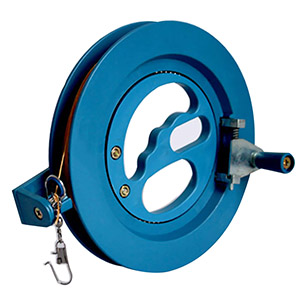 Kite reel has steel ball bearings, lock, made of high impact composite plastic and is durable