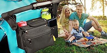 Non Slip Stroller organizer with cup holder, phone, diaper , zipper & flexible wipes pocket.