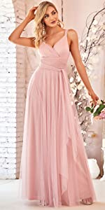 Elegant V Neck Floor Length A Line Empire Waist Long Tulle Bridesmaid Dresses