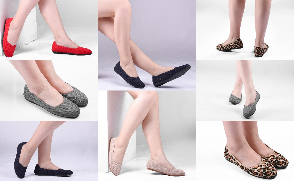 round toe knit flats shoes
