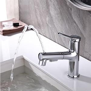 Pull Out Bathroom Faucet Fountain Single Handle Chrome Bathroom Sink Faucet