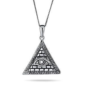 Unisex Masonic Ancient Talisman Mystic Symbol Egyptian Pyramid Horus Evil Eye Pendant 925 Silver