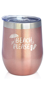 Text says Beach Please with design of a beach umbrella and some flip flops