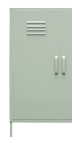 Metal locker storage cabinet with two doors and two handles in pale green