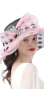 Womens  Kentucky Derby Church Hat Dress Fascinator Bridal Organza Tea Party Wedding Hat  Pink Dot