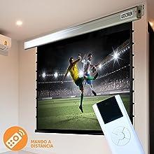pantalla para proyector tensionada, mando a distancia, inalambrica, ganancia brillo
