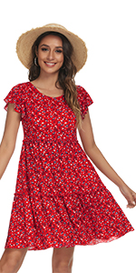 Floral Tiered Ruffle Swing Dress