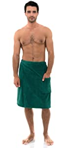 TowelSelections Mens Wrap, Shower Bath, Water Absorbent Cotton Lined Fleece