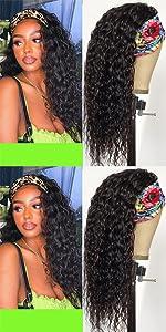 WENYU Headband Wigs For Black Women Human Hair Curly Water Wave Headband Wig Human Hair