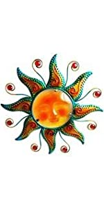 Metal Sun Face Design Wall Art