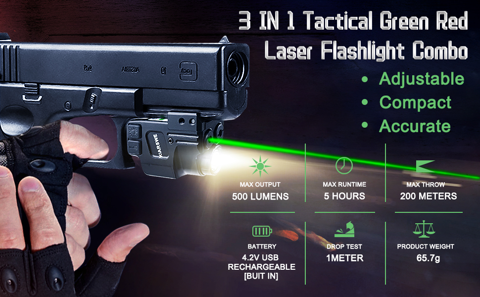 3IN1 Tactical Green Laser Flashlight Combo
