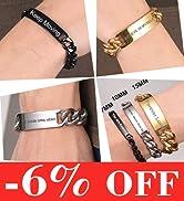 custom couple id bracelet for men women