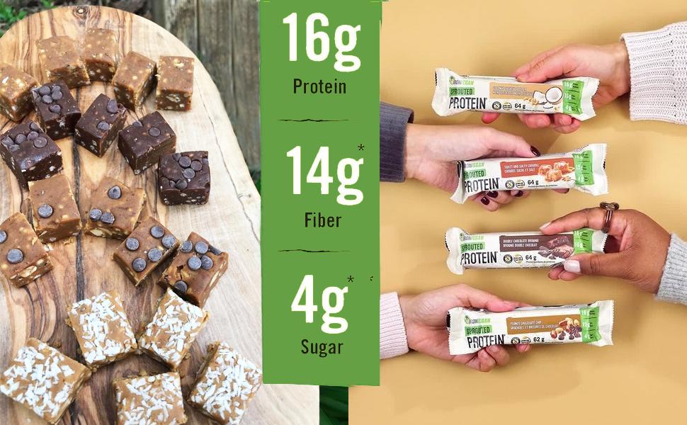 protein vegan bars powder iron bar sprouted organic plant low sugar men kids high fiber carb based