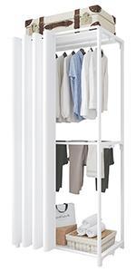 Porte-vêtements à 3 niveaux Blanc