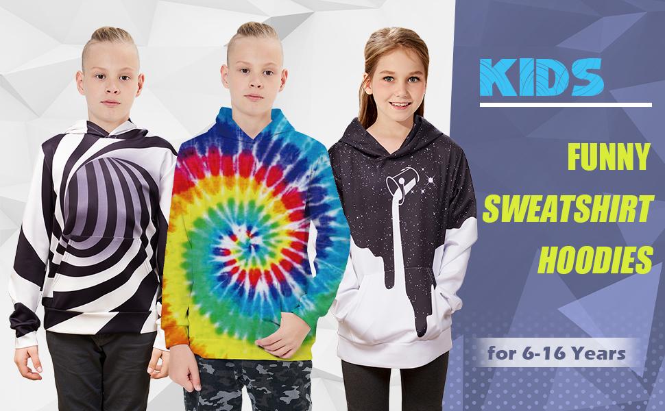 Funny Sweatshirt hoodies for 6-16 Years