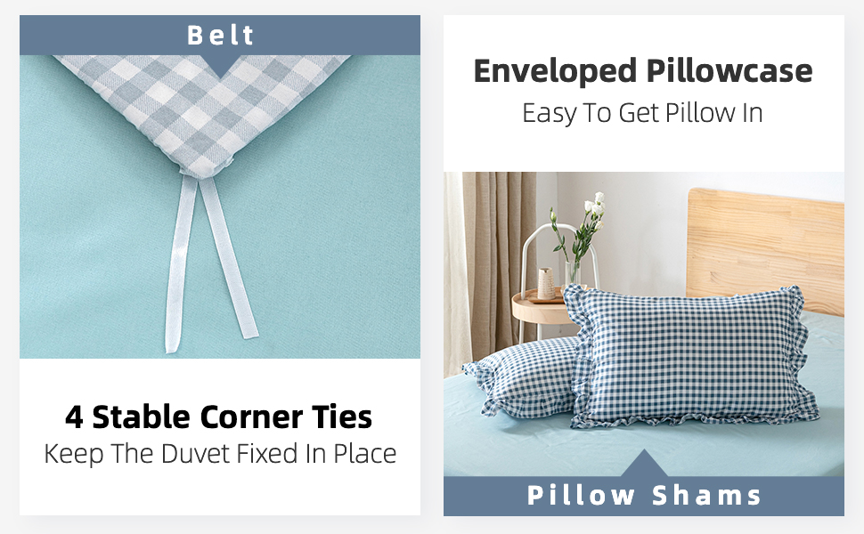duvet cover ties soft and rustic style plaid duvet cover king size BLUE bedding set stable ties