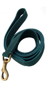 BlazingPaws Vibrania 1 inch Wide Teal Leather Dog Leash super soft distressed 6 feet ft 6ft thick