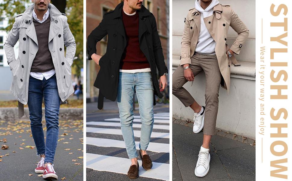 mens trench coat raincoat long knee length waterproof 3/4 trench coat cheap trench coat over