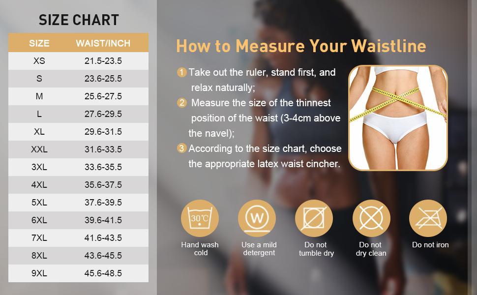 waist cincher size chart