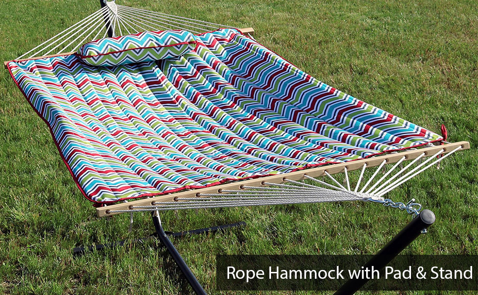Multi Color Chevron Cotton Rope Hammock with 12-Foot Stand amp; Pad