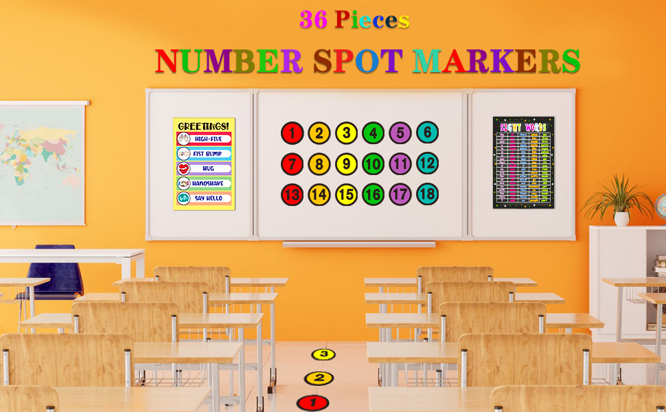 Number Spot Number Spot Helpers Colorful Markers for Classroom Kindergarten School Decoration