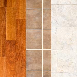 Three Flooring Surfaces side by side. Wood Floor, Tile Floor & Marble Floor