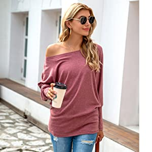Women's Fall Off Shoulder Loose Oversized Tunic Tops Casual Boat Neck Long Sleeve Pullover Shirts