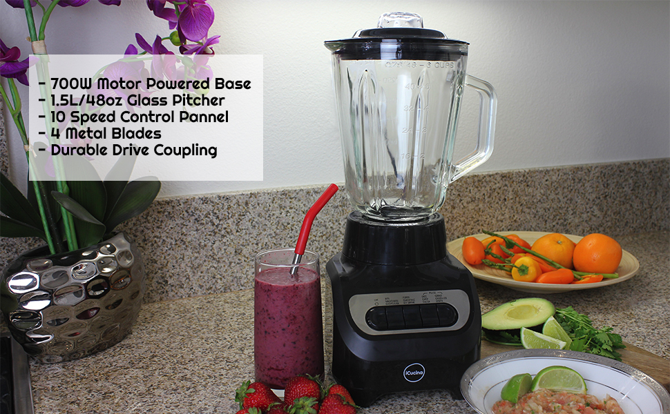 Countertop Blender, Glass Pitcher, 10 Speed Control Panel, Metal Blades, Drive Coupling