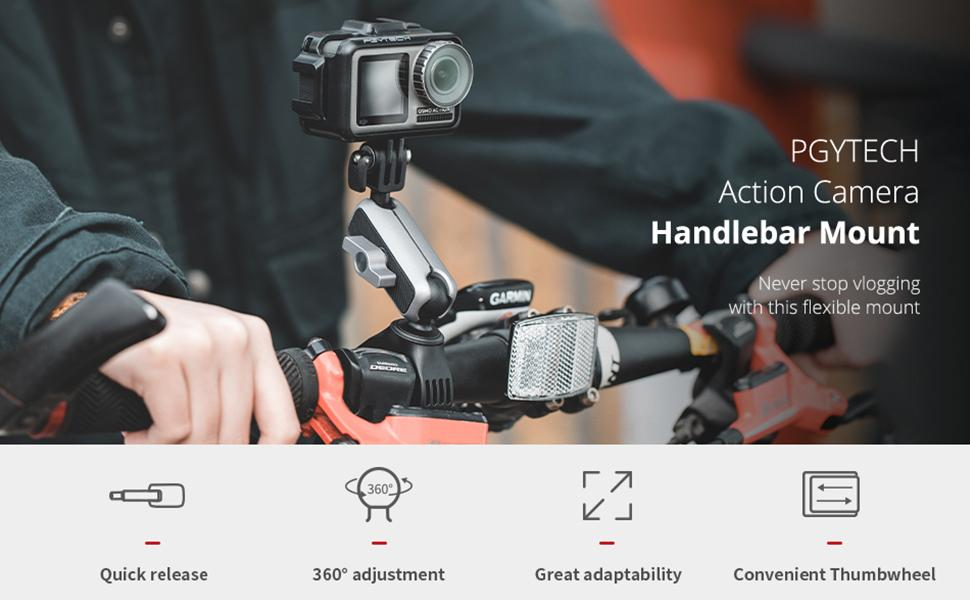 Action Never stop vlogging with this flexible mount Action Camera Handlebar Mount