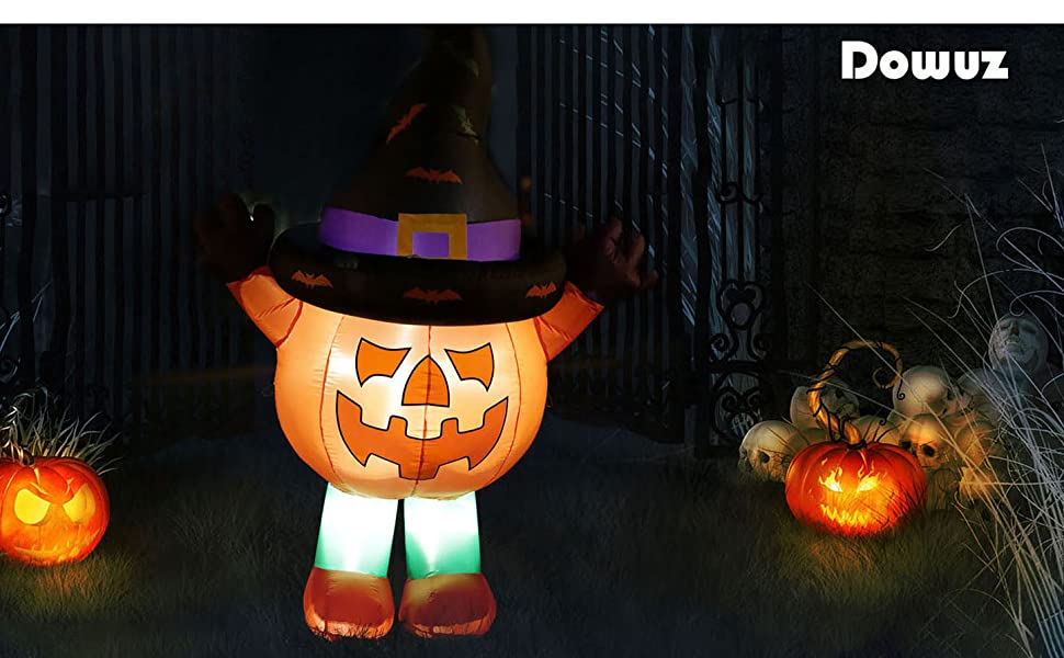 6 FT Pumpkin Ghosts Man Halloween Inflatables with Cute Witch's Hat, Big Size Outdoor Decorations