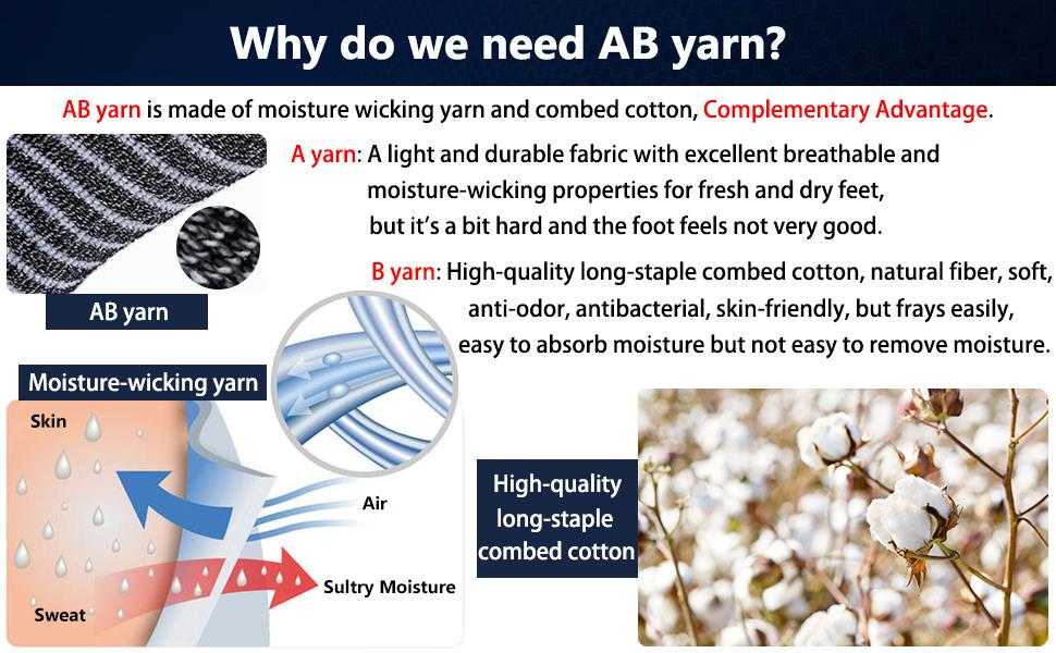 AB yarn is made of moisture wicking yarn and natural fiber, Complementary Advantage, soft durable