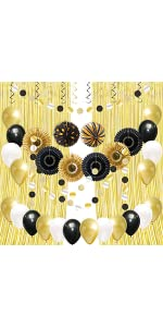 Black and Gold Party Decorations B089N4JL19