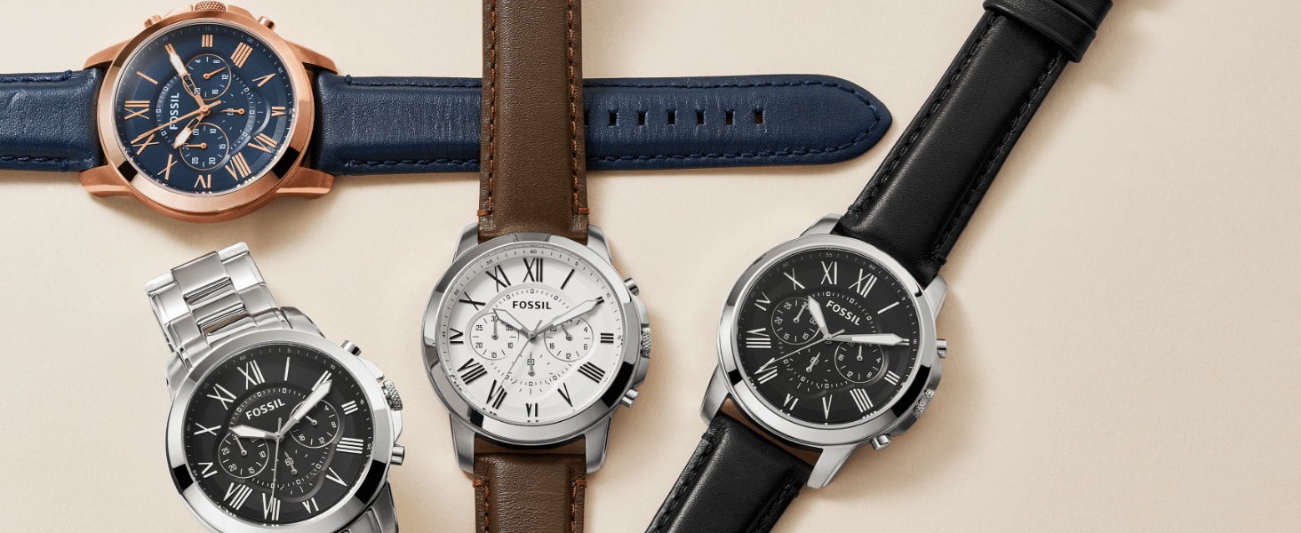 Fossil Men's Grant Watch in Navy, Silver, Brown and Black