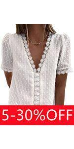 Womens Lace Trim Jacquard Blouse