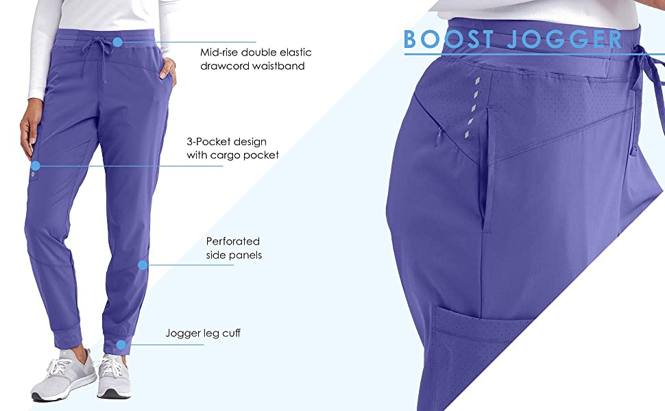 barco one bop513 boost jogger scrubs pant features