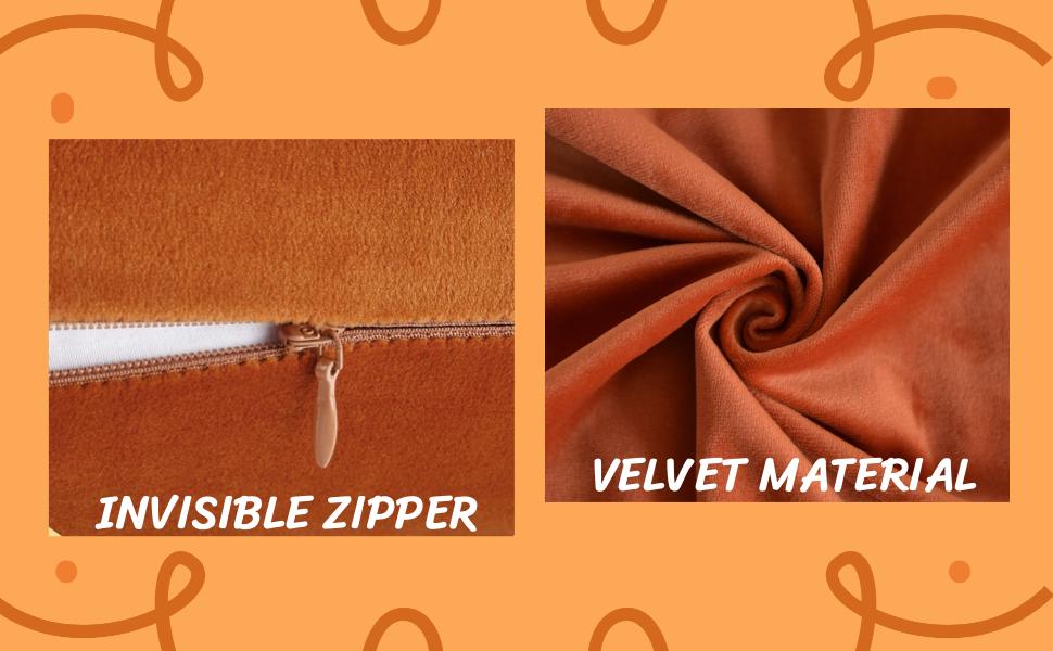 orange velvet throw pillow covers fall pillow case for sofa bed
