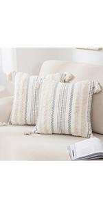 beige boho pillow covers