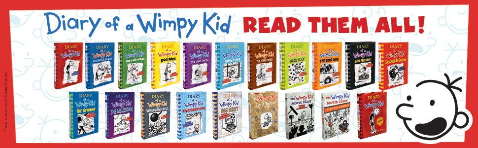 Image of all Diary of a Wimpy Kid books in the series