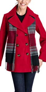 Double Breasted Peacoat with Scarf